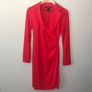 Express long sleeve red wrap dress size 7/8